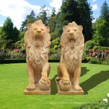 Impressionante, grande, sentando, granito, elenco, leões, estátua, jardim, ornamentos