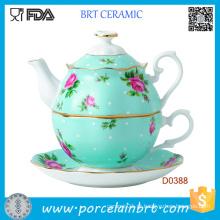 Pote de chá de borda de ouro rosa e branco luxuoso e chá conjunto de chá