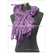 сердце напечатаны хлопок шарф