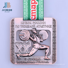 Neue Design-Legierung benutzerdefinierte Bronze Metall Gewichtheben Medaille für Sport