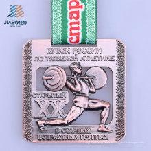 Medalla de bronce del levantamiento de pesas del metal de encargo de la nueva aleación del diseño para los deportes