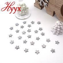 HYYX glänzende silberne Weihnachtssterncharme Dekoration, kundenspezifische Sternform Weihnachtsbaumverzierungen