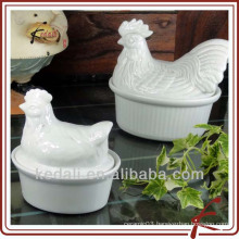 hen shaped white procelain cookware stockpot