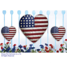 Metal Set of 3 pcs patriotic Hearts Wall Decor or Fence Decor