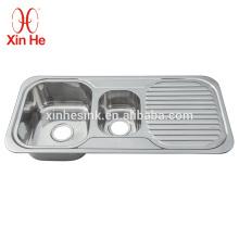 Dissipador comercial de aço inoxidável de Kitche 304 Topmounted com placa de drenagem