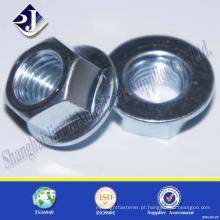 Porca de flange de aço carbono galvanizado em zinco DIN6923