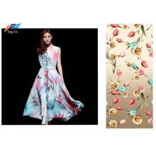 Commerce de gros 100% polyester en mousseline de soie imprimé floral