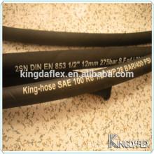 Mangueira de borracha hidráulica trançada resistentes do óleo SAE100 R6 única do óleo 19mm