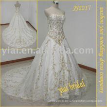 2010 последние самые потрясающие новое прибытие вышивка свадебное платье JJ2217