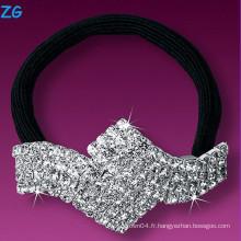 Bandeau de mariage luxueux en cristal plein, bande de cheveux française, bande de cheveux en niquel