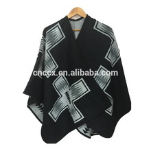 15PKCP01 2016-17 Dame de mode aztèque imprimé tissé jacquard acrylique poncho cape