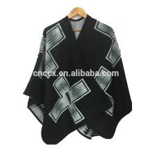 15PKCP01 2016-17 Lady's fashion aztec print woven jacquard acrylic poncho cape