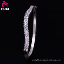Ródio banhado sintético Brilhante CZ branco diamante jóias pulseiras