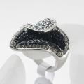 New fashion jewelry punk metal finger ring for women girl flower shaped full rhinestone rings