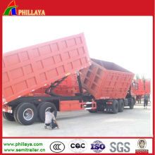 Front Side Tipping Rear Lifting Hydraulic Cargo Trailers Double Dumper