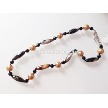 Hand Knoted Natural Stone Onyx Agate Beaded Necklace
