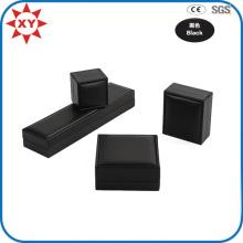 Boîte à bijoux en papier de boîte en carton noire en gros faite sur commande