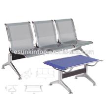 Tres sillas de asientos sin apoyabrazos para uso comercial, para oficina / hospital, apoyabrazos de aluminio y patas de acabado (KS3T-3)