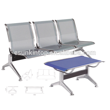 Chaises trois sièges sans accoudoirs pour usage commercial, Pour bureau / hôpital, accoudoirs en aluminium et finition de jambes (KS3T-3)