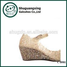 Сентиментальная зеленый дождь студент ботинки дождя сапоги водонепроницаемый с желе кристалл мило дождя сапоги для продажи C-B001