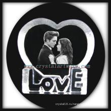 3D Лазерная травленная Crystal сердце любви Валентина день подарков