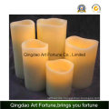 Flameless Real Wax LED Candle with Waved Top
