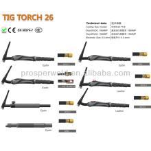 Argon Gas Tig Soldagem Tocha Soldagem Consumíveis TIG 26 e Peças sobressalentes