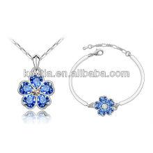 Оптовые ювелирные изделия ожерелья ювелирных изделий белого золота и браслета сапфира браслета установленные