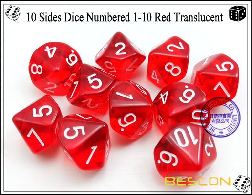 10 Sides Dice Numbered 1-10 Red Translucent-2