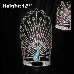 12in Height Crystal Peacock Pageant Crowns