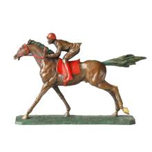 Sport Bronze Skulptur Hrose Race Carving Dekor Messing Statue TPE-024