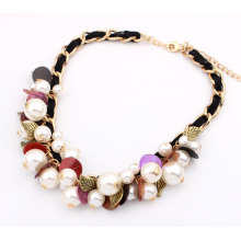 Bohemian style summer white Pearl shell beads vintage metal leave pendants braided cord Necklace fashion handmade woman necklace