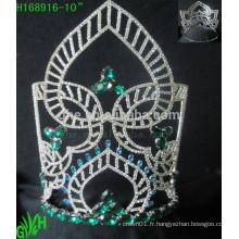 Vente en gros nouveau design grand été vert mini strass tiara couronne