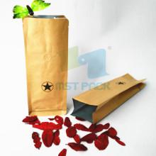 Sac de café en papier Kraft en pochette à soufflets latéraux
