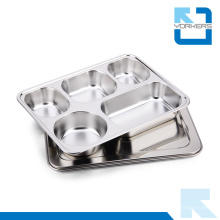 Popular 5 Divisores 304 Stainless Steel Fast Food Bandeja e Lunchbox com tampa
