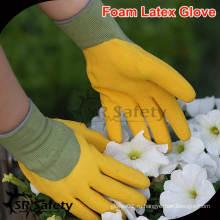 SRSAFETY 13G трикотажные нейлоновые вкладыши с латексными перчатками желтые / мужские рабочие перчатки с высоким качеством