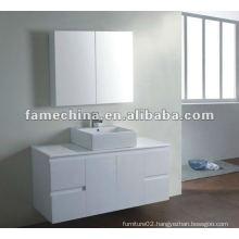 white bathroom vanity with mirror cabinet