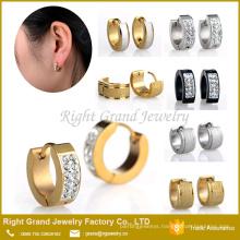 High Quality Alibaba Website Gold Sandblasted Crystal Jewelled Hoop Earrings