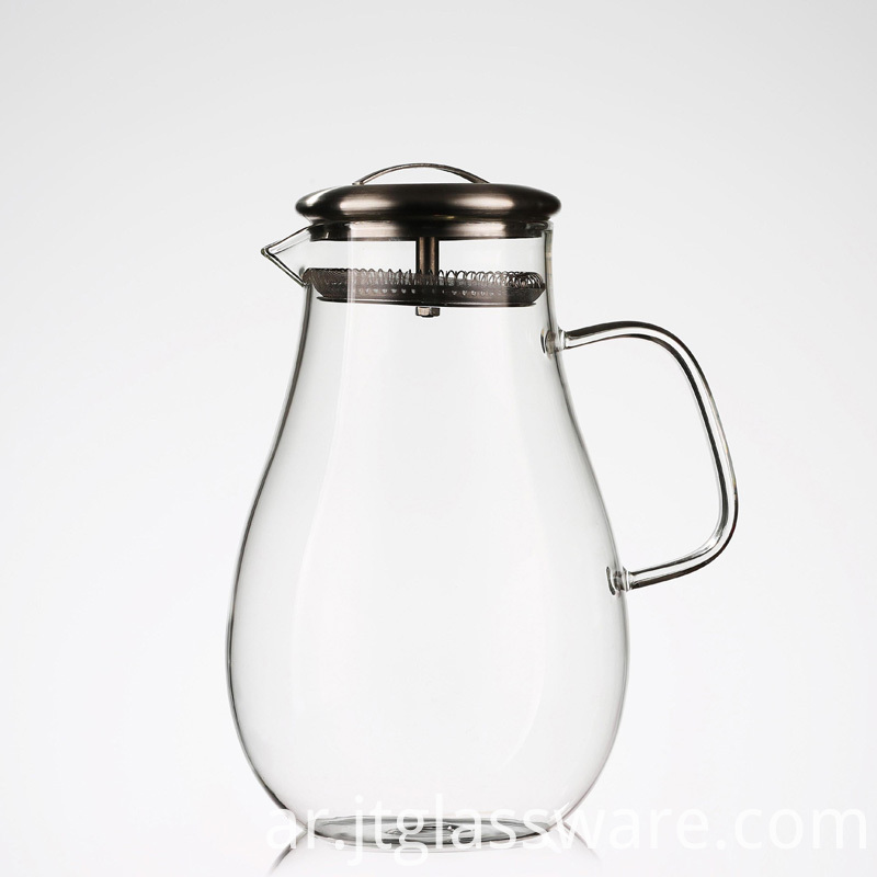 Glass Pitcher with Stainless Steel Lid,
