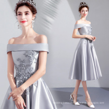 2019 New coming Elegant Silver Gray Flat Shoulder Evening Gowns Satin Knee Length Evening Party Dresses