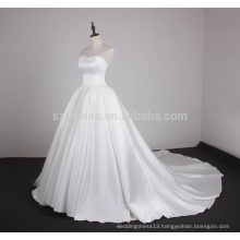 2017 shine satin sleeveless wedding dress with real pictures