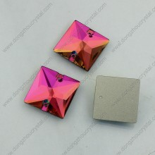 Square Flat Back Glass Beads with Hole