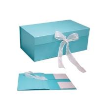 Customized Flat Folding Gift Magnetic Box With Ribbon