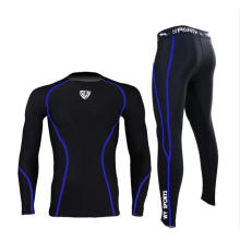 Solide Balck Compression Langarm Shirt Hosenanzug