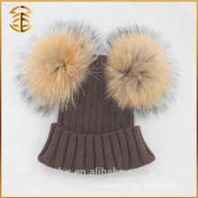 Hot Sale Fashion Two Raccoon Fur Ball Winter Ski Pom Pom Hat