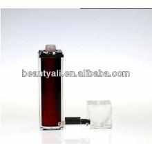 30ml 50ml cosmética de lujo transparente tapa cuadrada rojo cosméticos sin aire bomba botella
