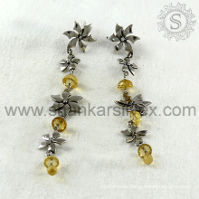 Fabulous hanging design citrine silver earring gemstone jewelry 925 sterling silver wholesale jewellery india