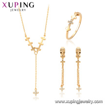 64697 xuping copper alloy fashion cross necklace jewelry set gift for women