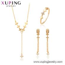 64697 xuping liga de cobre moda cruz colar conjunto de jóias presente para as mulheres