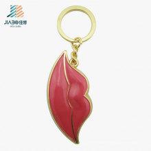 Keychain en métal de couleur rouge en gros de cadeau promotionnel fait sur commande pour la décoration